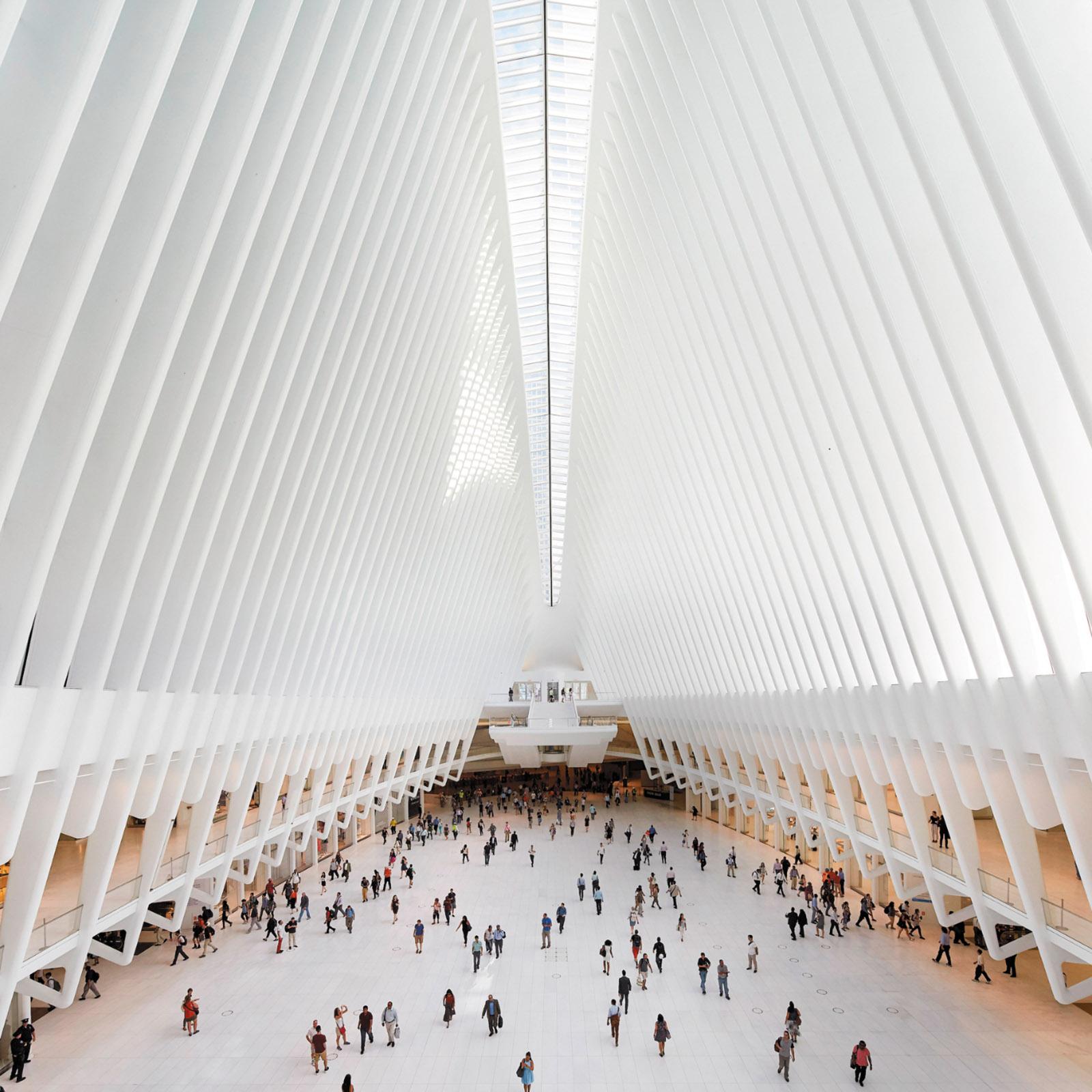 The interior of the World Trade Center Transportation Hub, designed by Santiago Calatrava
